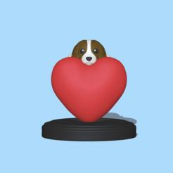 DogHeart1.PNG Download STL file Dog heart - Valentine Love • 3D printing design, usagipan3dstudios