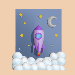 Rocket1.PNG Download STL file  A cute Rocket Scenery to decorate and play • 3D print template, usagipan3dstudios