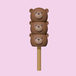 BearDango1.PNG Télécharger fichier STL Un adorable ours Dango pour décorer et jouer • Objet imprimable en 3D, usagipan3dstudios