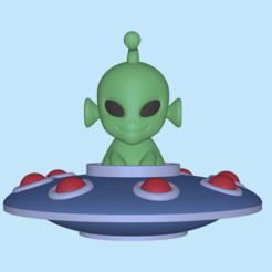 UFOAlien1.PNG Download STL file A cute UFO Alien to decorate and play • 3D printer object, usagipan3dstudios