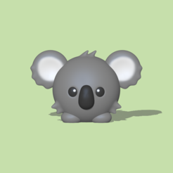 Round Koala1.PNG Download STL file A cute round Koala to decorate and play • 3D printable template, usagipan3dstudios