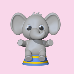 SittingElephant1.PNG Download STL file A cute Sitting Elephant to decorate and play • 3D printable design, usagipan3dstudios