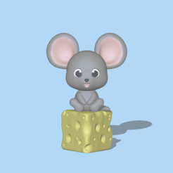 Mouse and Cheese1.PNG Download STL file A cute Mouse and Cheese to decorate and play  • Template to 3D print, usagipan3dstudios