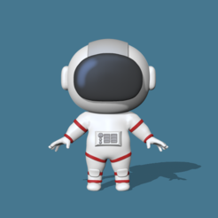 Astronaut1.PNG Download STL file A cute Astronaut to decorate and play • 3D printing model, usagipan3dstudios
