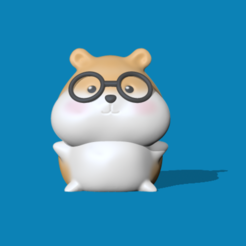 HamsterWithSunglasses (1).PNG Download STL file A cute Hamster with glasses to decorate and play • 3D printing design, usagipan3dstudios