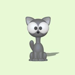 Cat Big Eyes1.PNG Download STL file A cute Cat Big Eyes to decorate and play • 3D print design, usagipan3dstudios