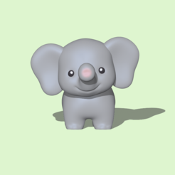 Cute Elephant1.PNG Download STL file Cute Elephant • 3D print template, usagipan3dstudios