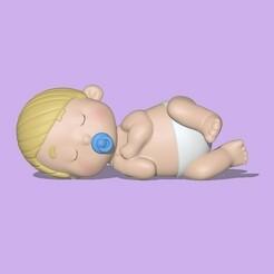 Bebês (1).jpeg Download STL file A cute Sleeping baby to decorate and play • 3D print template, usagipan3dstudios