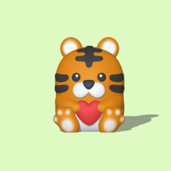 Tiger with Heart1.PNG Download STL file Tiger with heart to decorate and play • 3D printer design, usagipan3dstudios