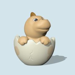 EggDino1.PNG Download STL file EggDino • Design to 3D print, usagipan3dstudios