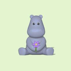 Flower Hippo1.PNG Télécharger fichier STL Hippopotame à fleurs • Plan imprimable en 3D, usagipan3dstudios
