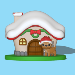Deer_house1.PNG Download STL file Christmas deer house • 3D print template, usagipan3dstudios