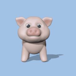 LittlePig1.PNG Télécharger fichier STL Un mignon petit cochon pour décorer et jouer • Plan imprimable en 3D, usagipan3dstudios