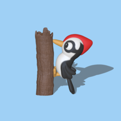 Woodpecker1.PNG Download STL file A cute woodpecker to decorate and play • 3D printer object, usagipan3dstudios