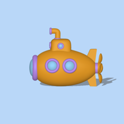 Submarine3.PNG Download STL file A cute Submarine to decorate and play • 3D print object, usagipan3dstudios