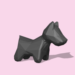 DogLowpoly1.PNG Download STL file A Lowpoly Dog for decoration • Model to 3D print, usagipan3dstudios