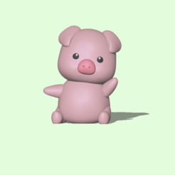 Pig1.PNG Télécharger fichier STL Un cochon mignon • Design pour imprimante 3D, usagipan3dstudios