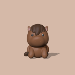 Cute horse (1).PNG Download STL file Cute Horse • 3D printer design, usagipan3dstudios