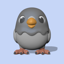 Pigeon1.PNG Download STL file A cute pigeon to decorate and play • 3D printable model, usagipan3dstudios