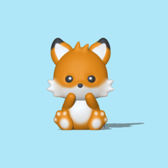 Cute Fox (3).PNG Download STL file Cute Fox • Template to 3D print, usagipan3dstudios