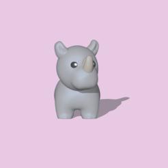 Rhino1.PNG Télécharger fichier STL Un rhinocéros mignon pour la décoration et le jeu • Objet imprimable en 3D, usagipan3dstudios
