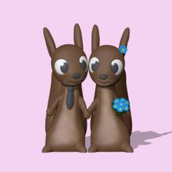 SquirrelsCouple1.PNG Télécharger fichier STL Un joli couple d'écureuils pour décorer et jouer • Plan à imprimer en 3D, usagipan3dstudios