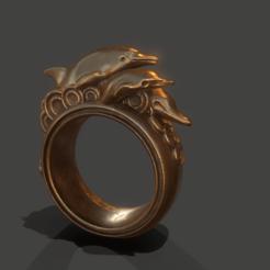 screenshot006.png Download OBJ file Dolphins Ring • 3D print design, Nukex