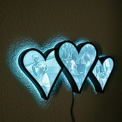 DSC07320.jpg Download STL file Lithohearts LED Wallframe - 3 Hearts • 3D printer design, Shanamar