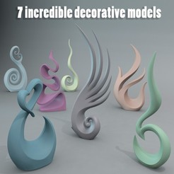 Deco_Pack_3D1.jpg Télécharger fichier STL Ensemble de décoration de sculptures • Design imprimable en 3D, Ignadeco