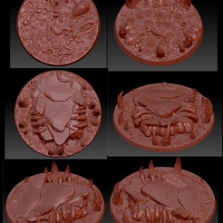 LargeRounds.jpg Download STL file Realm of Pleasure 50-100mm Bases • Template to 3D print, Xarplo