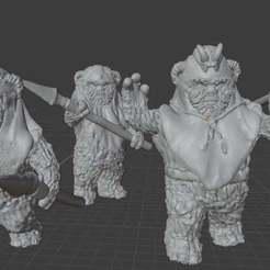 ewok_unit.jpg Download free STL file Ewok Warriors (star wars legion scale) • Design to 3D print, McAnultyMiniatures