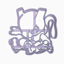 Download 3D printing templates Mewtwo Cookie Cutter Pokemon Anime Chibi, Negaren