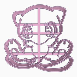 Download 3D model Mew Cookie Cutter Pokemon Anime Chibi, Negaren