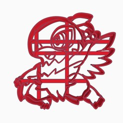 hawluchasubir1.jpg Download STL file Hawlucha Cookie Cutter Pokemon Anime Chibi • Model to 3D print, Negaren