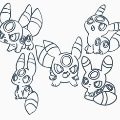 Download 3D print files Umbreon Pack Pokemon Anime Chibi Cookie Cutter, Negaren