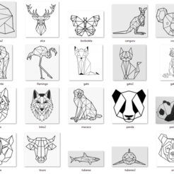 1-TODOS.png Download free STL file Animals Geometric 2d - 34 Models Wall • 3D printable object, jefferart