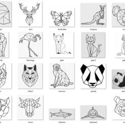 1-TODOS.png Télécharger fichier STL gratuit Animaux Géométriques 2d - 34 Modèles Mur • Plan pour impression 3D, jefferart