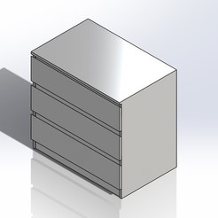 1.jpg Download STL file 1:6 Scale Ikea Malm Drawers for Barbie Doll (Doll House Furniture) • 3D print design, wamonuop