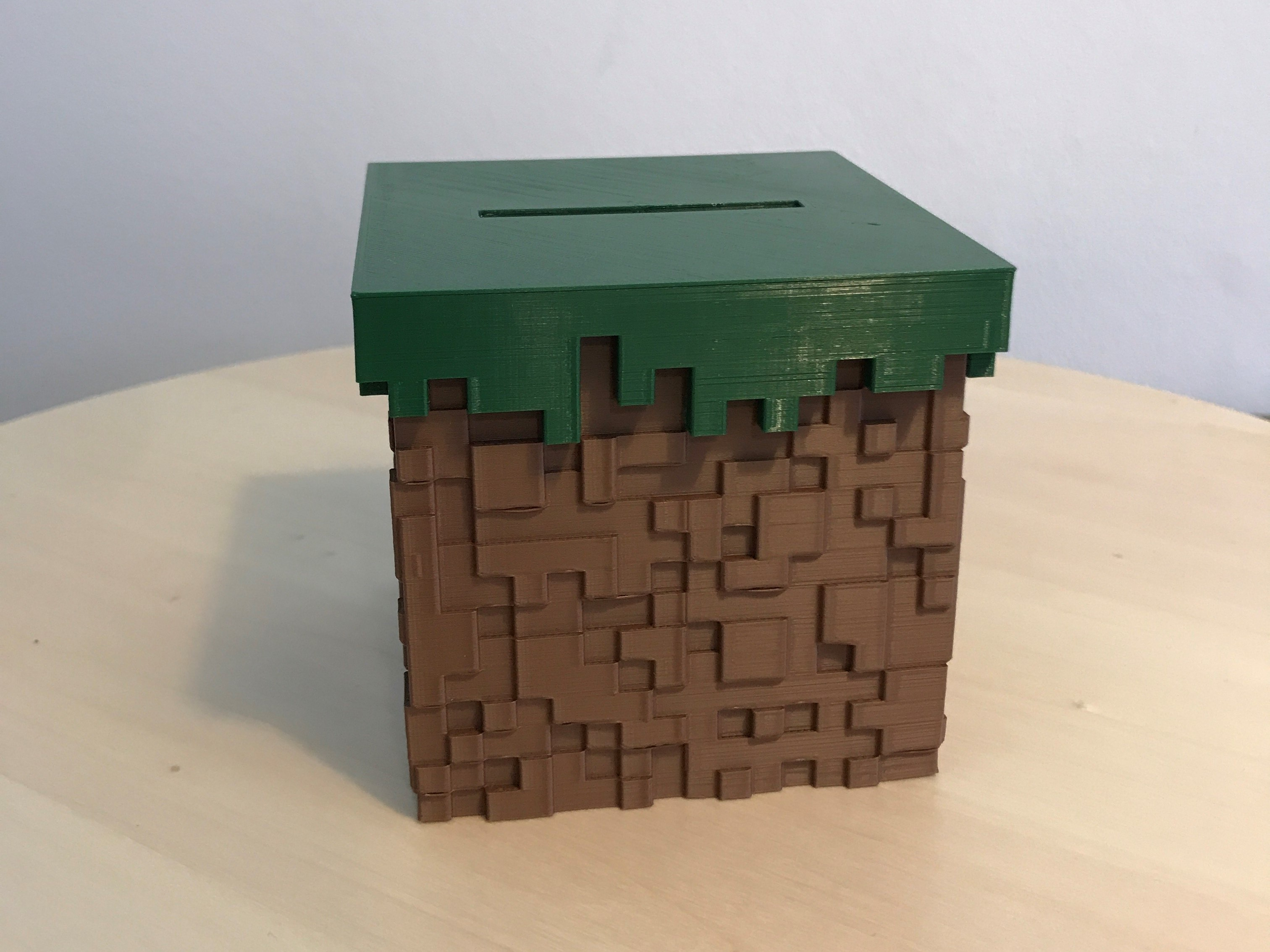 08.jpg Download free STL file Minecraft Grass Block Money Bank • 3D printing template, the3dsmith