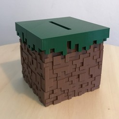 Download free STL file Minecraft Grass Block Money Bank • 3D printing template, the3dsmith