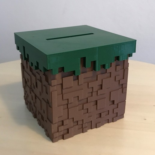 09.jpg Download free STL file Minecraft Grass Block Money Bank • 3D printing template, the3dsmith