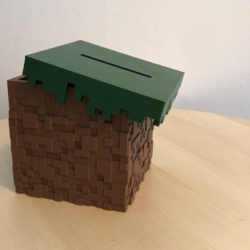 04.jpg Download free STL file Minecraft Grass Block Money Bank • 3D printing template, the3dsmith