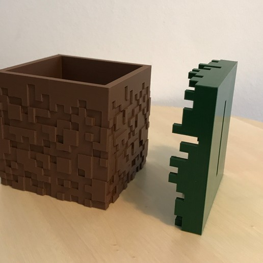 02.jpg Download free STL file Minecraft Grass Block Money Bank • 3D printing template, the3dsmith