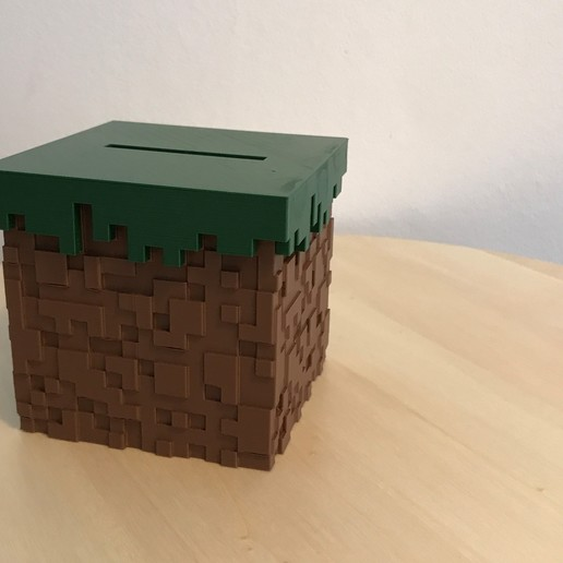 05.jpg Download free STL file Minecraft Grass Block Money Bank • 3D printing template, the3dsmith
