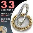 Download STL ETERNITY DIAMOND RING 2.5MM GEMS, BAASU