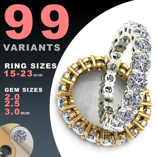 Download 3D model ETERNITY DIAMOND RING SET 2.0 / 2.5 / 3.0 MM GEMS, BAASU