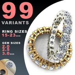 BAASU_10_A4C.jpg Download STL file ETERNITY DIAMOND RING SET 2.0 / 2.5 / 3.0 MM GEMS • 3D printing model, BAASU