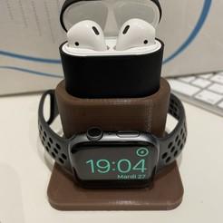 IMG_2381.jpg Télécharger fichier STL gratuit Apple_watch_airpods_charger_with_case • Plan imprimable en 3D, papyy29