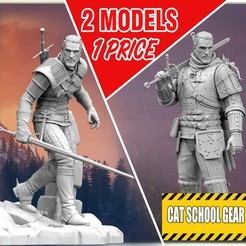 Witcher-geralt-wildhunt-stl-3dmodel-sls-sla-pla-abs.jpg Download STL file Geralt Witcher 2 MODELS 1 PRICE • 3D print object, CrazyCraft