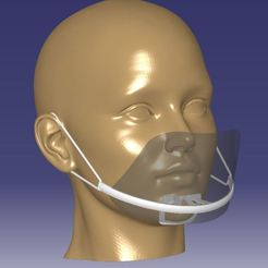 head.JPG Download STL file Mouth Shield Mask adjustable • 3D printable template, nezdecekhav